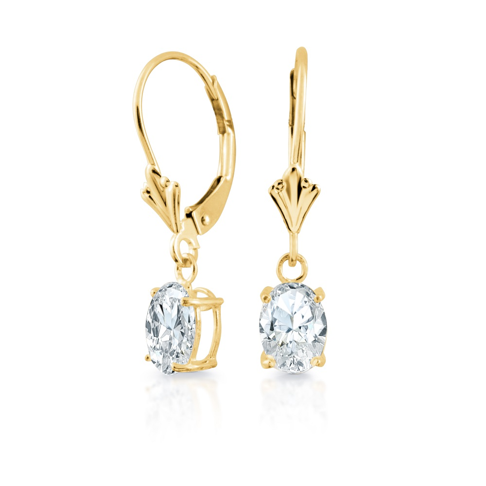 Lady's Earrings in 14K Yellow Gold with 7X5 mm Cubic Zirconias