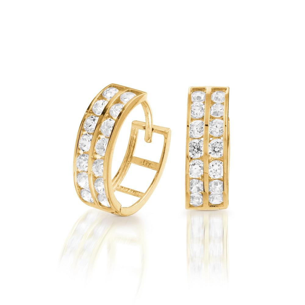 Boucles d'Oreilles Anneaux Style 'Huggies' Pour Dame en Or Jaune 14K avec Deux Rangées de Cubiques Zircons