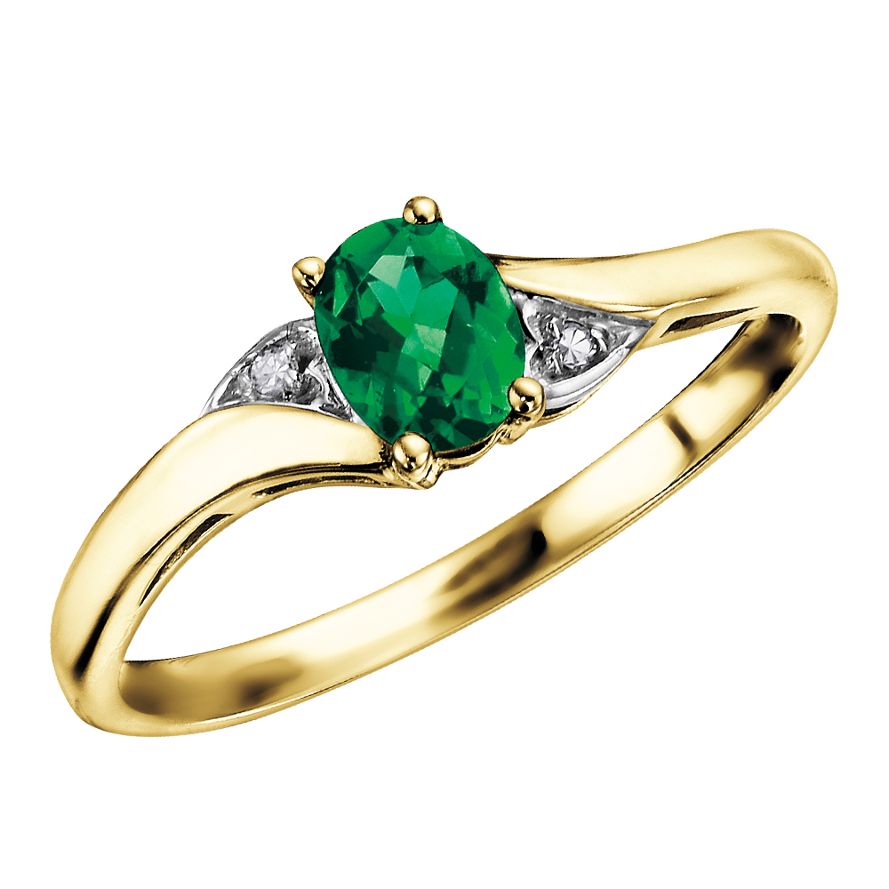 Emerald ring with diamond accent - in 10K yellow gold