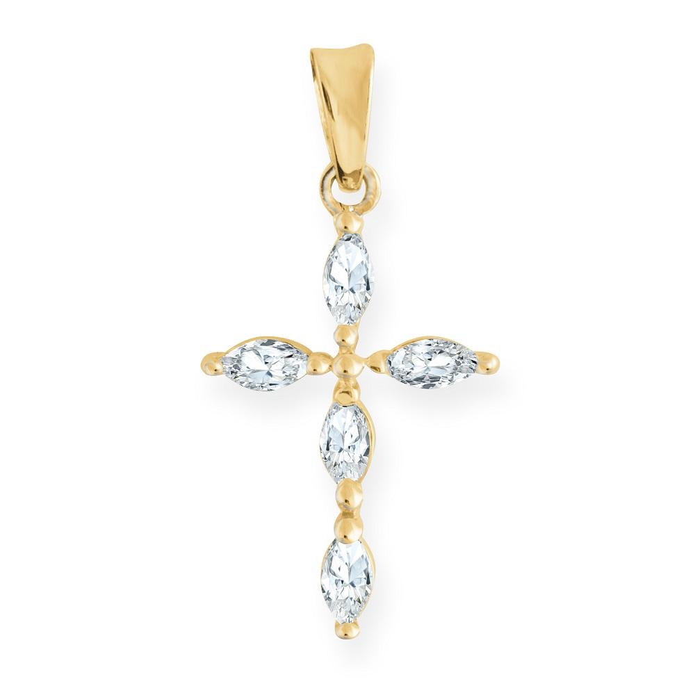 Cross Pendant in 10K Yellow Gold with Cubic Zirconias
