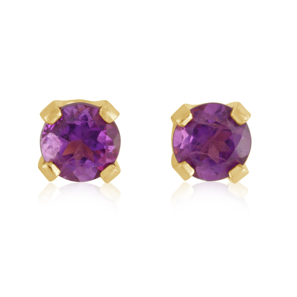 Stud Earrings - 14K yellow Gold & approximately 3mm Amethysts (February)