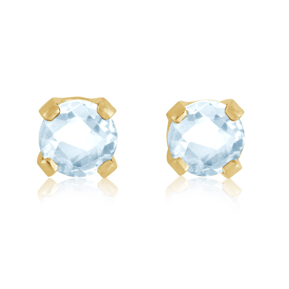Stud Earrings - 14K yellow Gold & approximately 3mm Aqua-Marine stones (March)