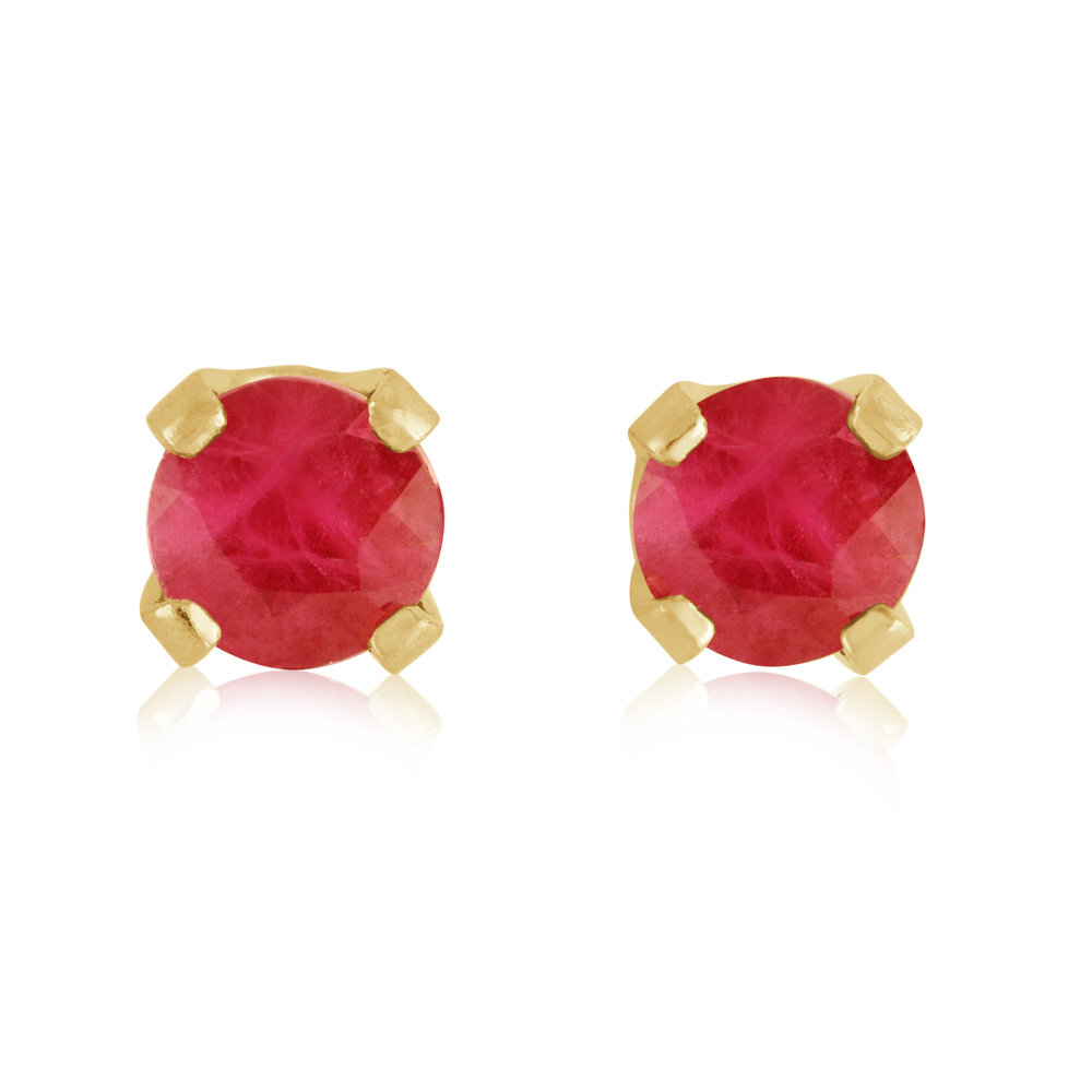 Stud Earrings - 14K yellow Gold & approximately 3mm Rubies (July)
