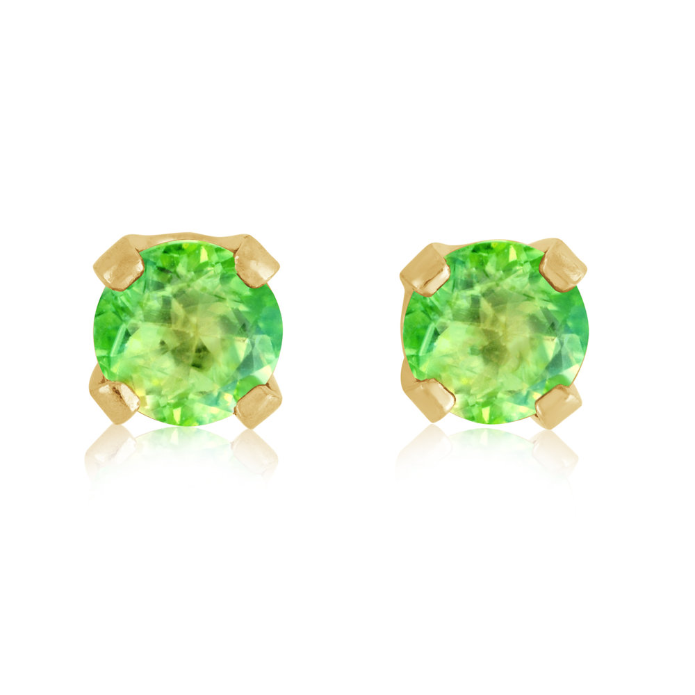 Stud Earrings - 14K yellow Gold & approximately 3mm Peridot (August)