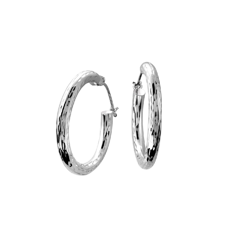 Hoop earrings with a diamond cut finish - 10K white Gold
