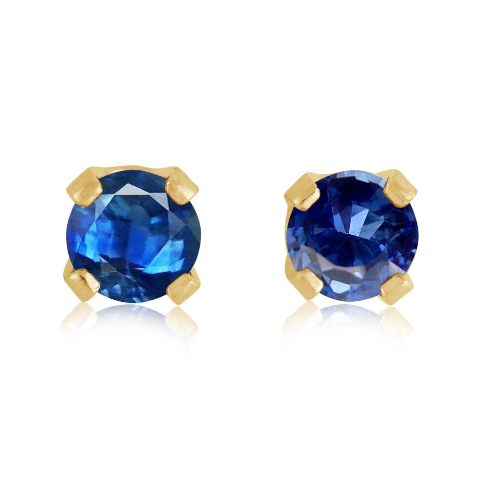 Stud Earrings - 14K yellow Gold & approximately 3mm Sapphire (September)