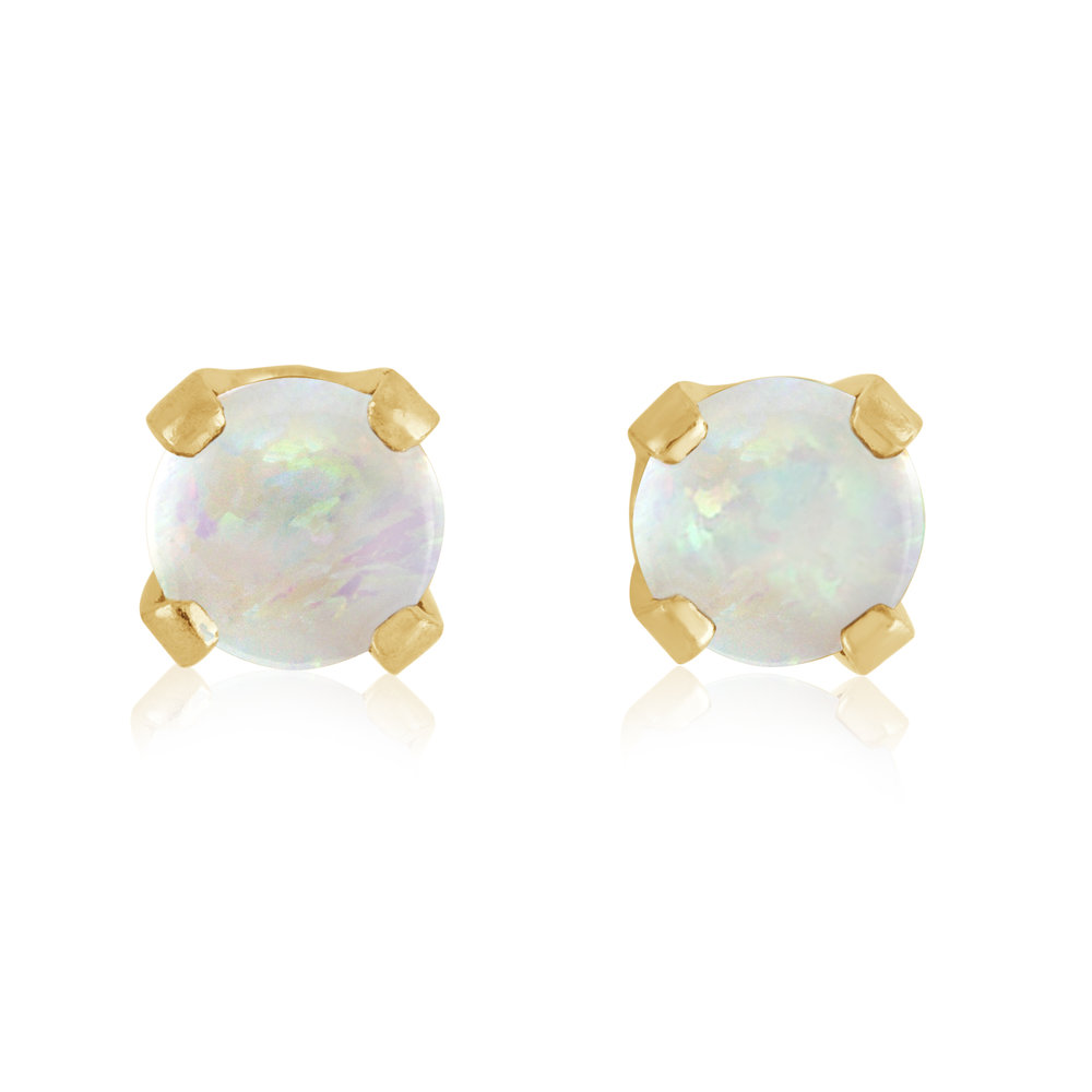 Stud Earrings - 14K yellow Gold & approximately 3mm Opal(October)