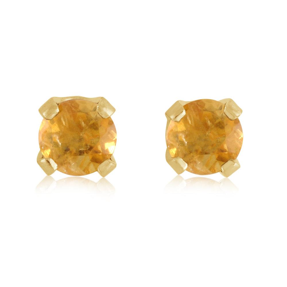 Boucles d'oreilles à tiges fixes - Or jaune 14K & Topaze de environ 3mm (Novembre)