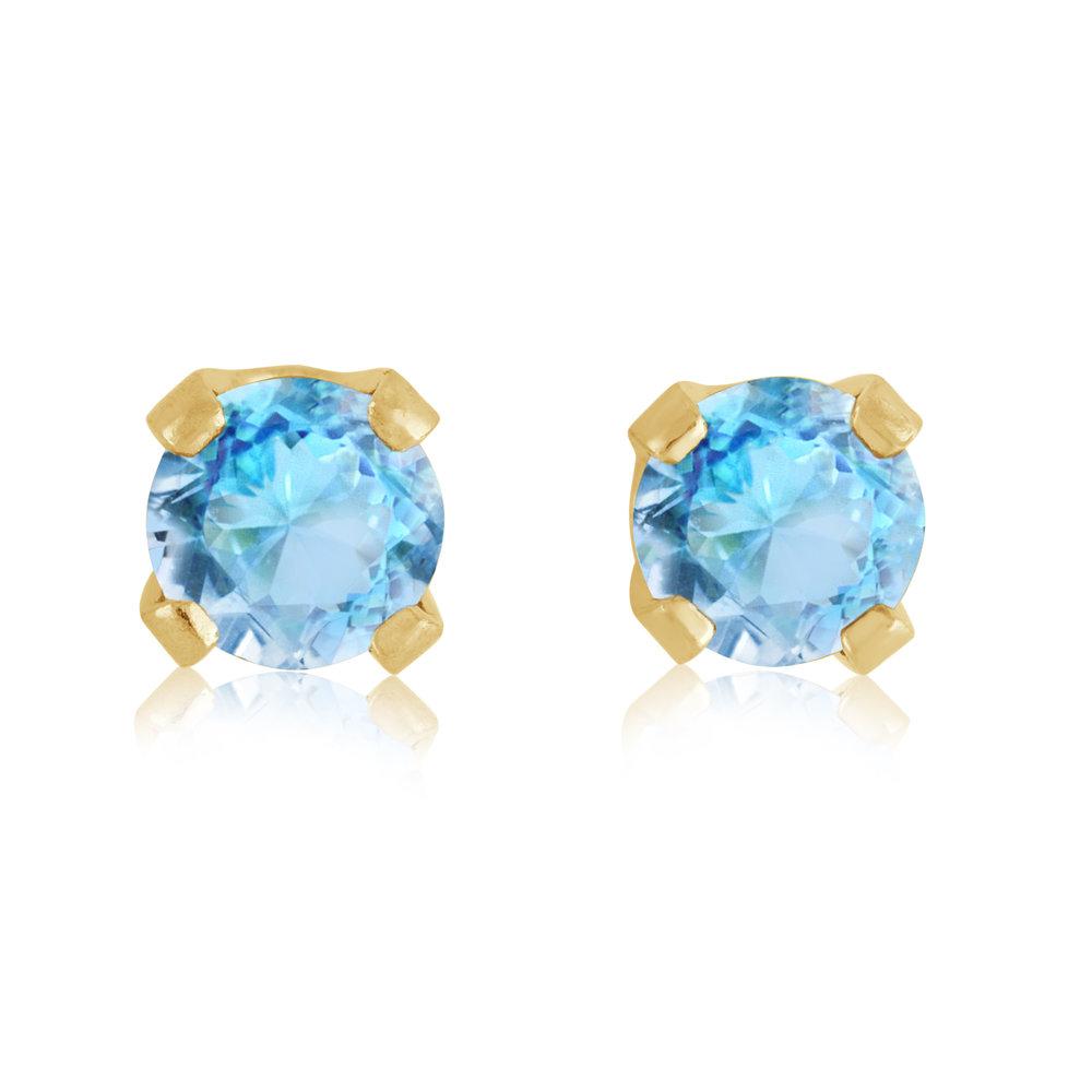Boucles d'oreilles à tiges fixes - Or jaune 14K & Topaze bleue de environ 3mm (Decembre)
