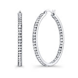 Hoop earrings - Italian stainless steel & White cubic Zirconia