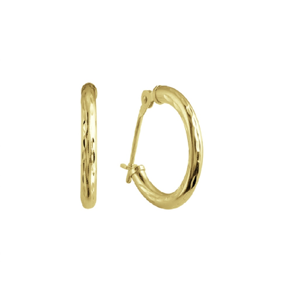 Hoop earrings with a diamond cut finish for children - 10K yellow Gold