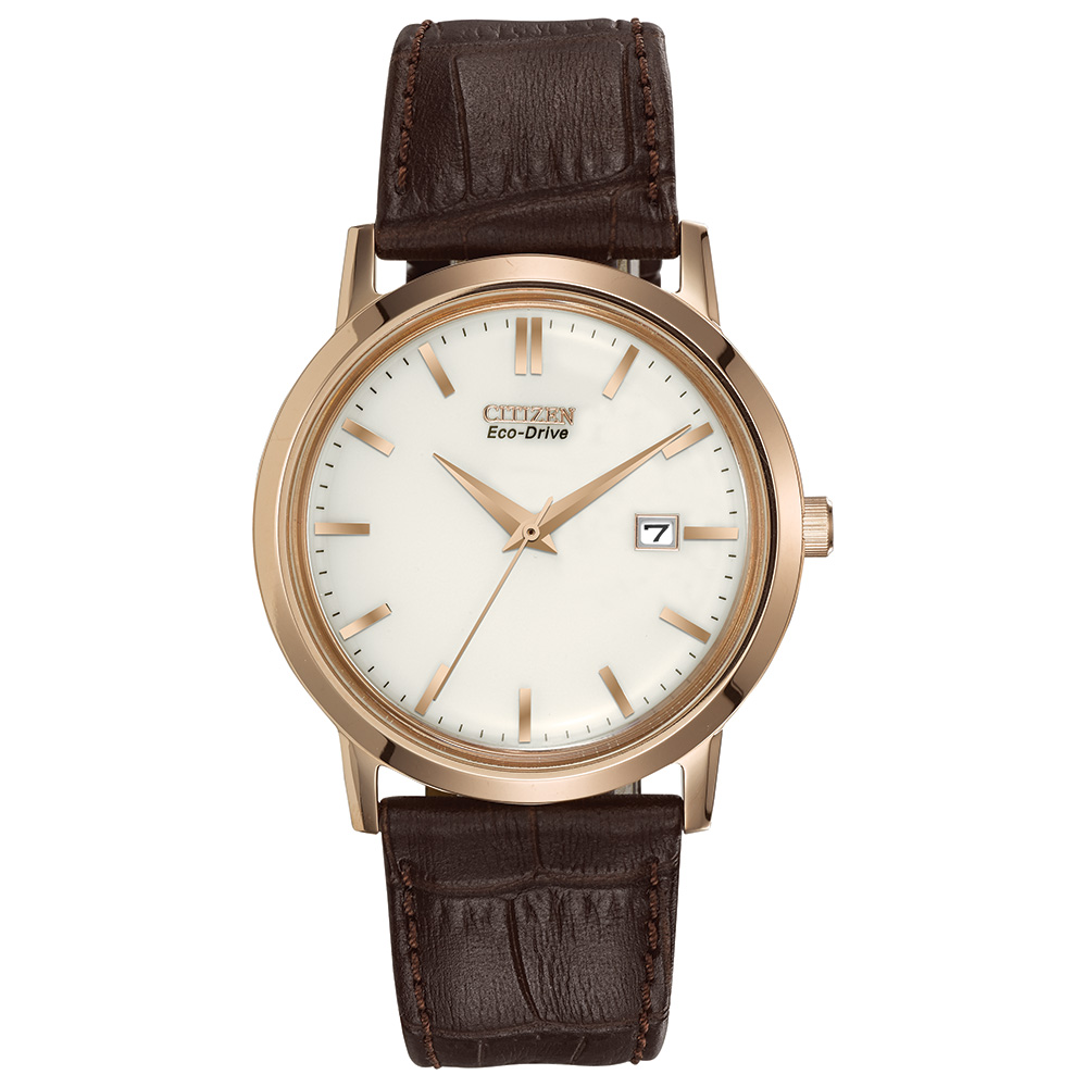 Men's Citizen Eco-Drive  watch with a stainless steel pink-gold 40mm case and a brown leather strap.Mineral curved crystal.Date.Water-Resistant (Splash Resistant)