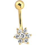 Piercing, Navel barbell, flower motif - 14K yellow Gold & cubic zirconia