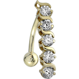 Piercing, Navel barbell, in line motif - 14K yellow Gold & cubic zirconia