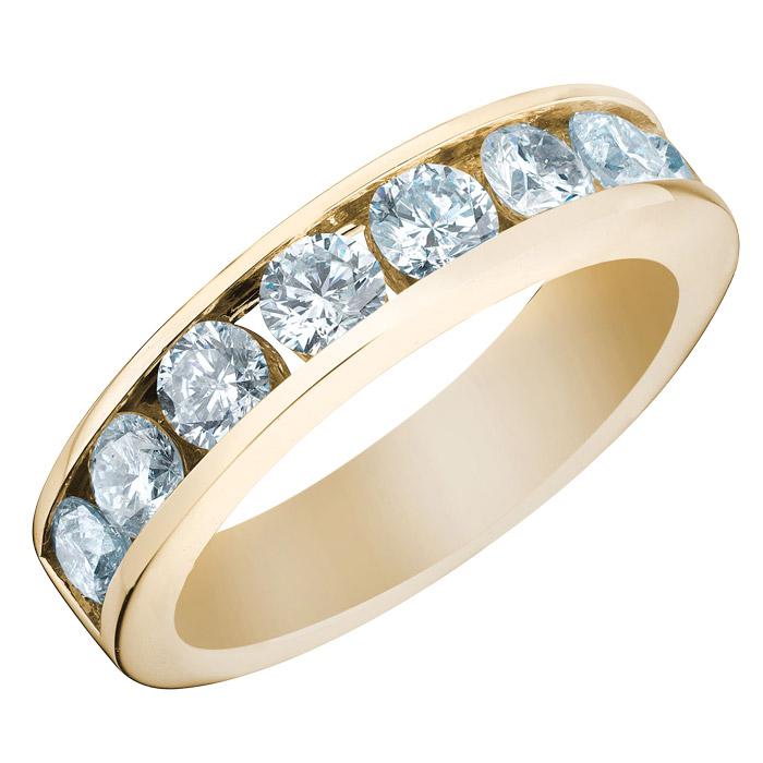 Jonc semi-éternité pour dame - Or jaune 10K & Diamants totalisant 0.27 Carat