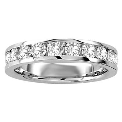 Half-eternity band for woman - 10K white Gold & Diamonds