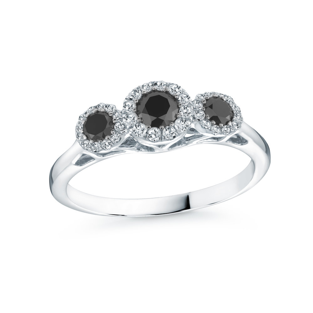 Trinity Ring with white and black diamonds 0.53 Carats T.W. - In 10K White Gold