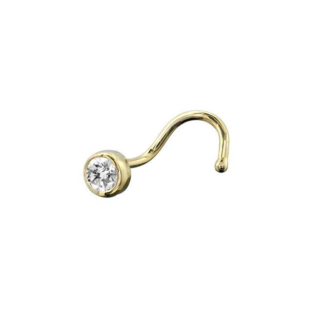 Piercing, Nose stud - 14K yellow Gold & 5pt diamond