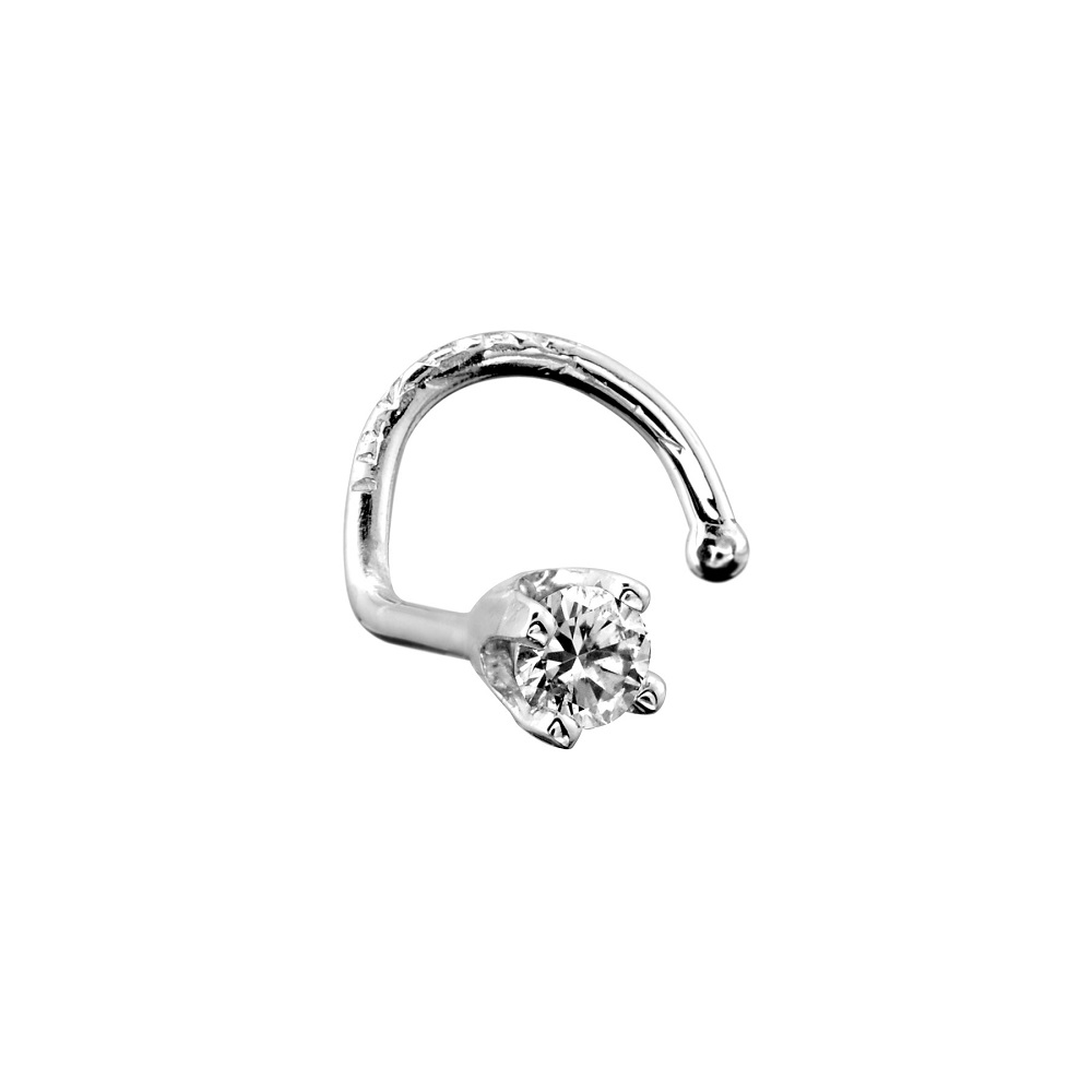 Piercing, Nose stud - 14K white Gold, &  2.5pts Diamond