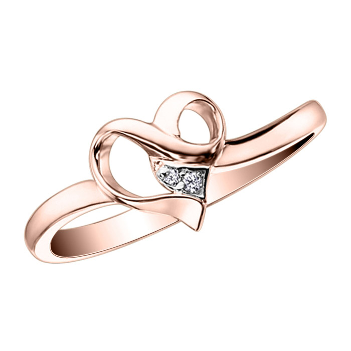 Heart Promise Ring with 2 diamonds 0.01 Carat T.W. Clarity:I Color:GH - In 10K Pink Gold