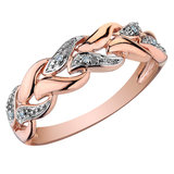Ring set with diamonds 0.03 Carats T.W. Clarity:I Color:GH - in 10K pink Gold