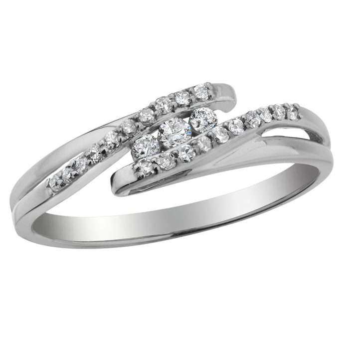 Ring for woman - 10K White Gold & Diamonds