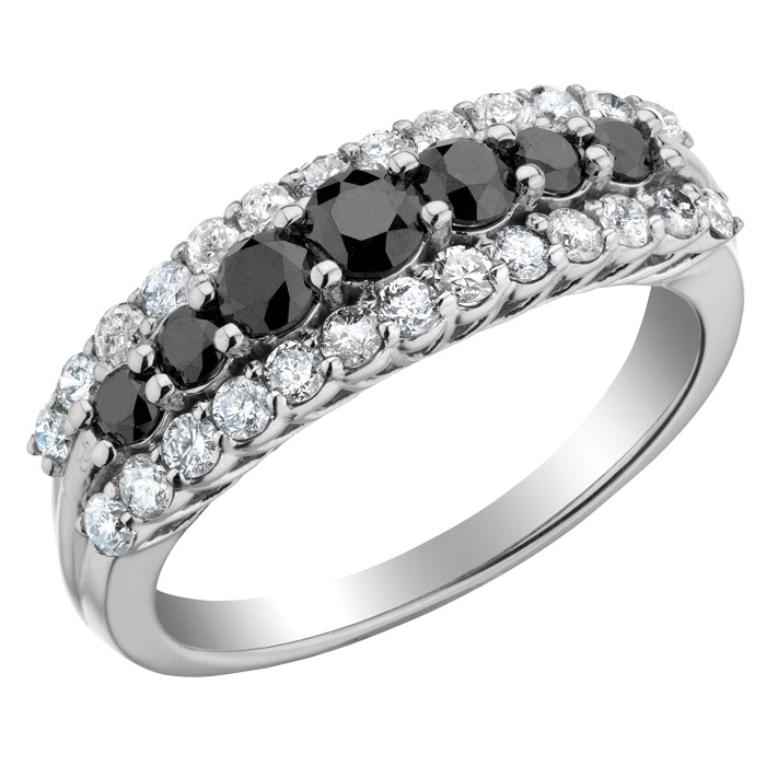 Ring for women - 10K white Gold with Black and white diamonds T.W. 1.00 Carat