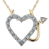 Devil-Heart Pendant in yellow gold plated sterling silver with diamonds 0.05 Carat T.W. Clarity:I Color:GH - silver Chain included