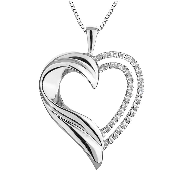 Heart pendant in sterling silver with diamond - Chain included