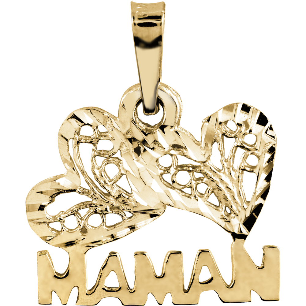 'Maman' heart pendant - 10K yellow Gold