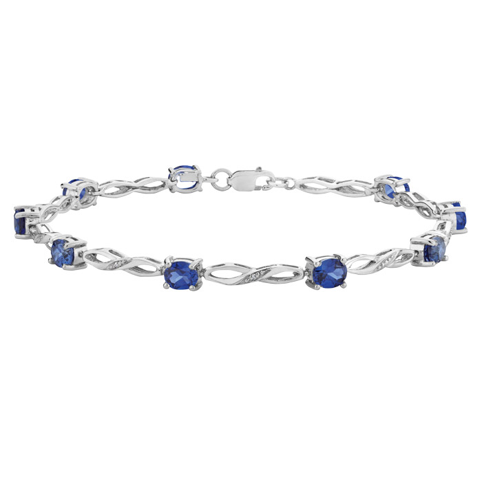 Bracelet in sterling silver with created sapphires 1.90 Carat T.W. and diamond accent