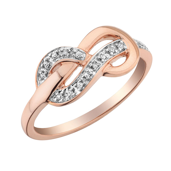 Bague Infini serties de diamants totalisant 0.05 Carat Pureté:I Couleur:GH - En Or Rose 10K