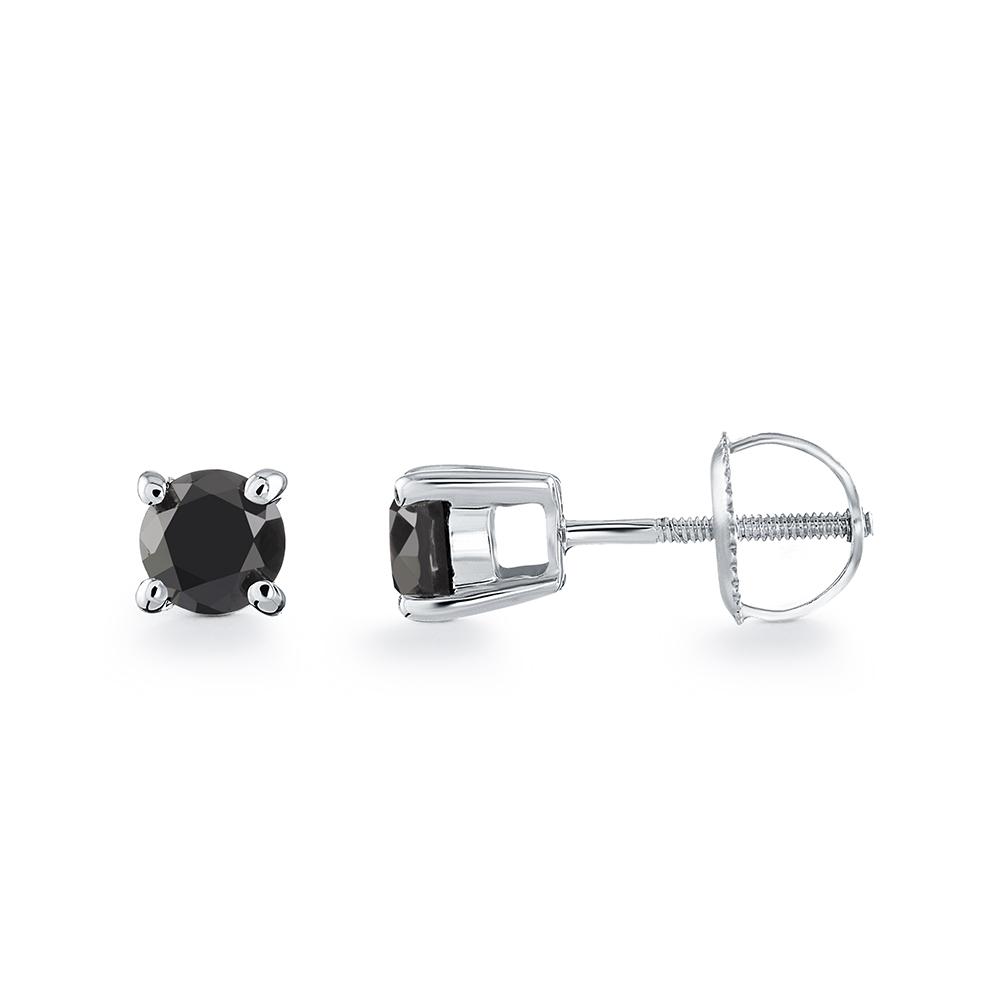 Boucles d'oreilles solitaire à tiges vissés - Or blanc 10K& Diamants noirs 2 X 0.125 Carat
