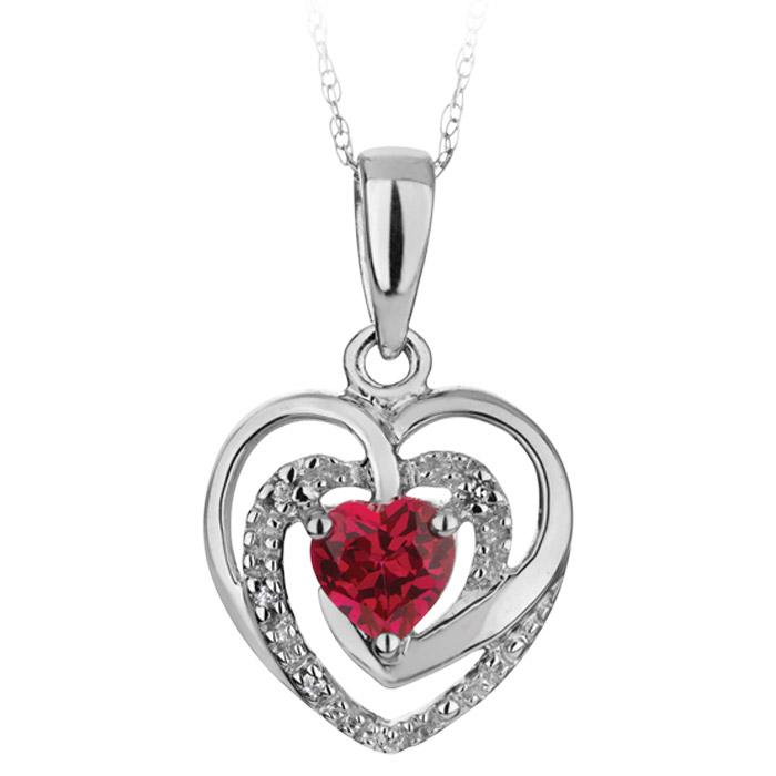 Pendentif coeur en argent sterling serti d'un rubis de laboratoire et de diamants - Chaîne incluse