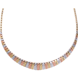 17 1/4'' Necklace for ladies - 10K 3-tone gold (yellow, white and pink)