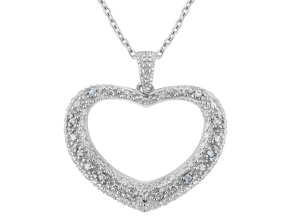 Pendentif coeur en argent sterling sertis d'une touche de diamant - Chaîne incluse