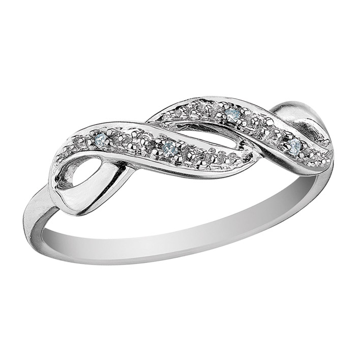 Bague d'amitié infini serties de diamants totalisant 0.03 Carat - En or blanc 10K