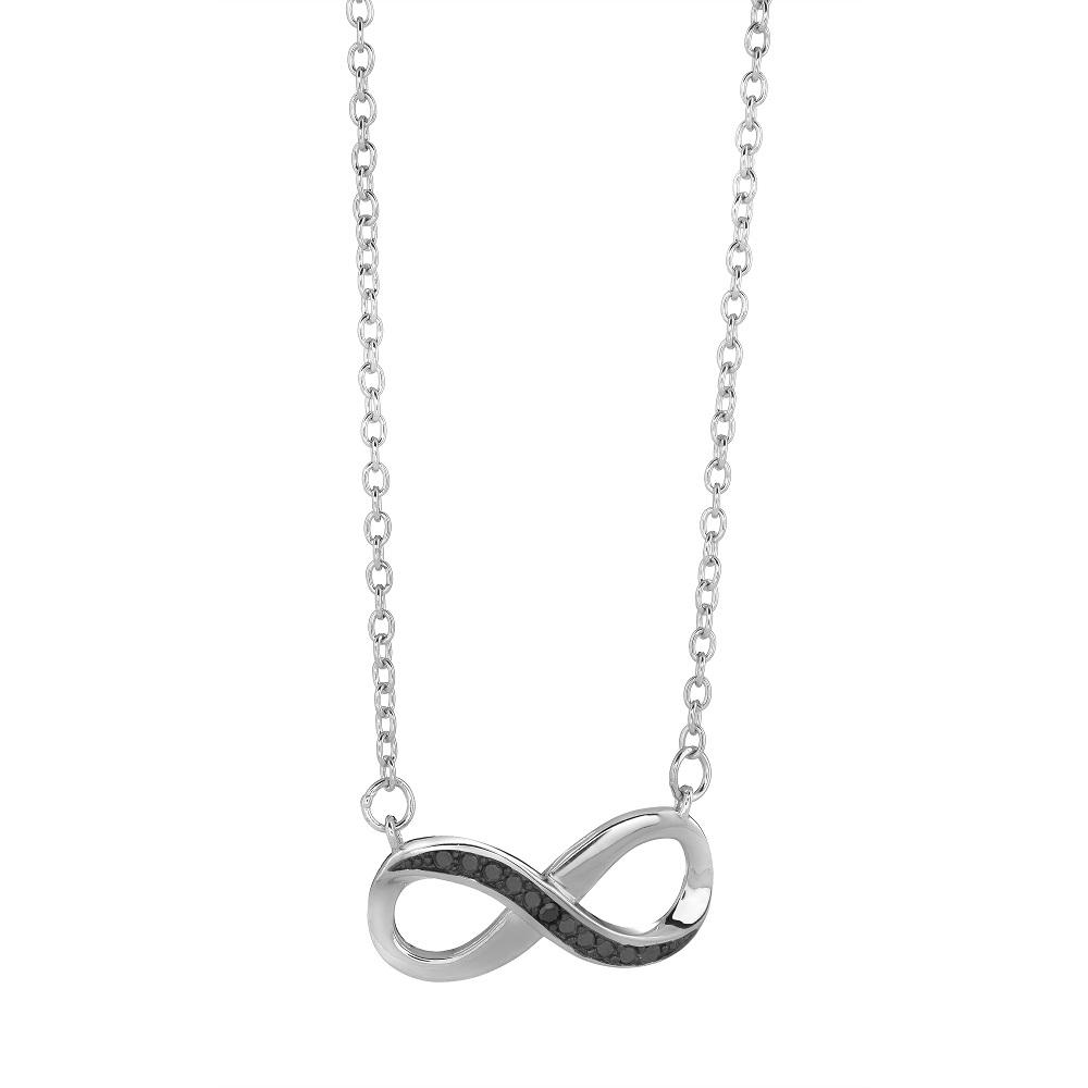 Collier infini pour femme - Argent sterling & diamant noir