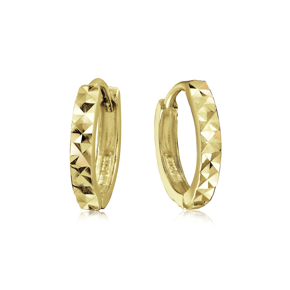 Hoop earrings with a diamond cut finish for children - 14K yellow Gold