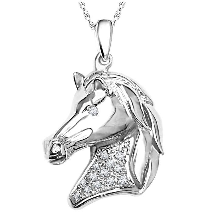 Pendentif cheval en argent sterling sertis de diamants- Chaîne incluse
