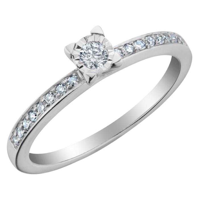 Bague de fiançailles - Or blanc 10K & Diamants totalisant 0.23 Carat