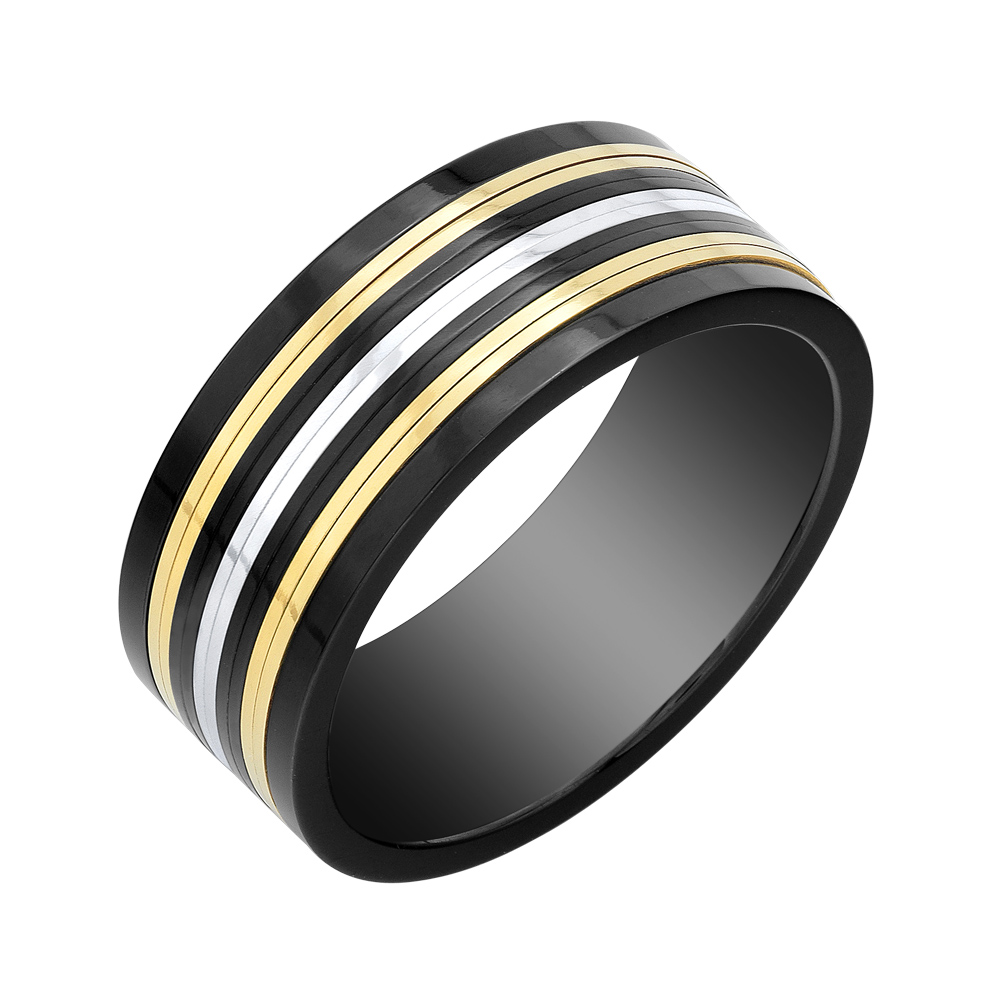 Men's band - Black yellow and white stainless steel