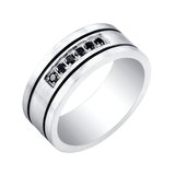 Men's band - Black and white stainless steel & Black cubic zirconia
