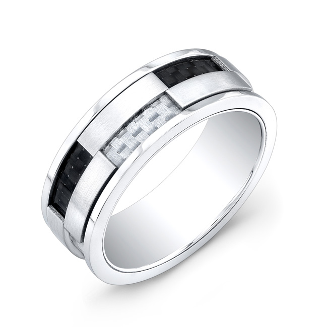 Band for man - Stainless steel & Black and white carbon fiber
