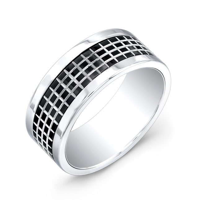 Men's band in black and white - Stainless steel