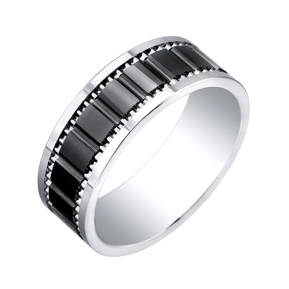 Men's band - Titanium tungsten & Black ceramic