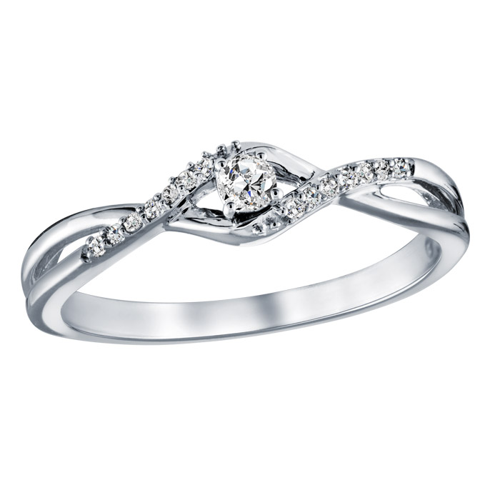 Infinity promise ring with diamonds 0.10 Carat Clarity:I Color:GH - in 10K white gold