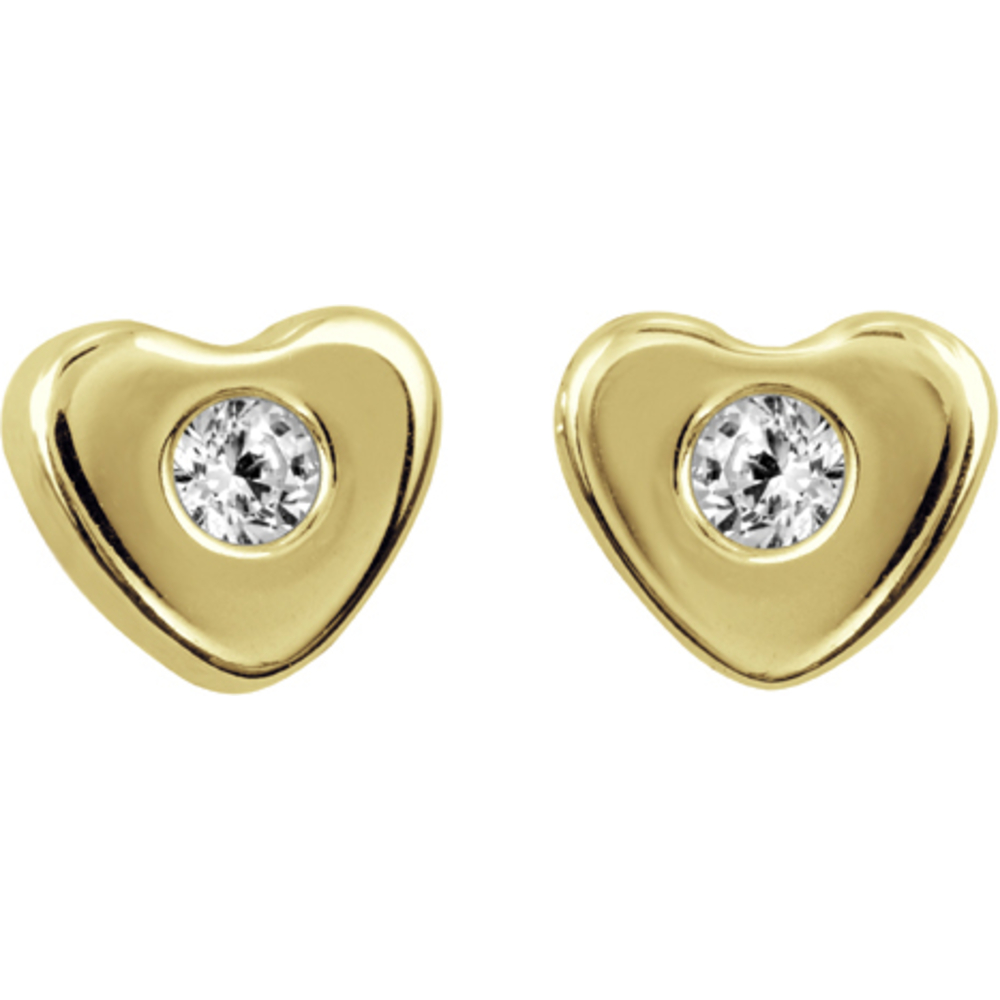 Heart stud earrings with cubic zirconia for children - 10K yellow Gold