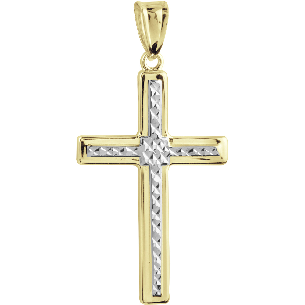 Cross pendant - 10K 2-tone Gold (yellow and white)
