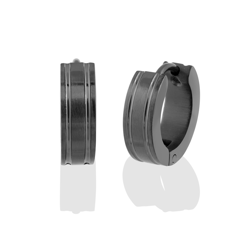 Huggies earrings - Black stainless steel